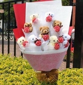 Polatlı çiçek siparişi vermek  9 adet ayicik ve 9 adet yapay gül
