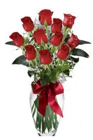 11 adet kirmizi gül vazo mika vazo içinde  14 şubat sevgililer günü çiçek