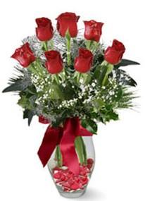 internetten çiçek siparişi  7 adet kirmizi gül cam vazo yada mika vazoda