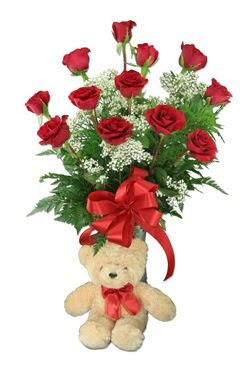 10 adet vazoda kirmizi gül ve 12 cm ayi  Polatlı çiçek online çiçek siparişi