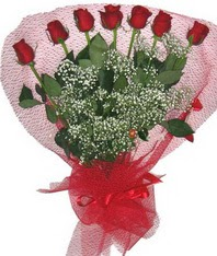 7 adet kipkirmizi gülden görsel buket  Polatlıya çiçek çiçek mağazası , çiçekçi adresleri
