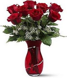 Vazo içinde 8 adet kirmizilar içinde güller  internetten çiçek siparişi