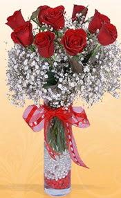 9 adet kirmizi gül cam yada mika vazoda  Polatlıya çiçek çiçek mağazası , çiçekçi adresleri