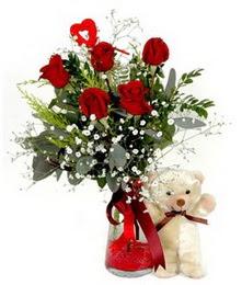 Polatlı yurtiçi ve yurtdışı çiçek siparişi  5 adet kirmizi gül ve pelus ayicik kalp çubuk