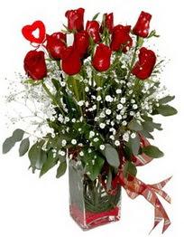 Polatlı çiçek siparişi vermek  9 adet mika yada cam vazoda gül tanzimi kalp çubuk