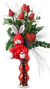 Polatlıdaki çiçekçiler  Vazo içinde 5 adet gül ( pelus kalp çubuk )