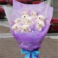 Polatlı uluslararası çiçek gönderme  11 adet küçük ayiciktan görsel ayi buketi