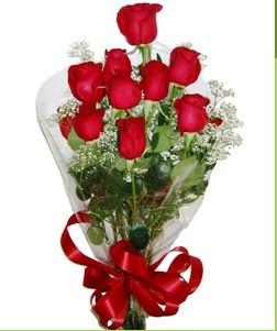 Polatlı uluslararası çiçek gönderme  10 adet kırmızı gülden görsel buket