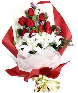 Polatlıdaki çiçekçiler  1 dal kazablankaa 9 adet kırmızı gül buketi