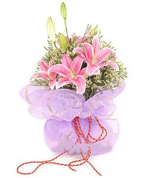 3 dal kazablanka görsel buketi  Polatlı internetten çiçek satışı