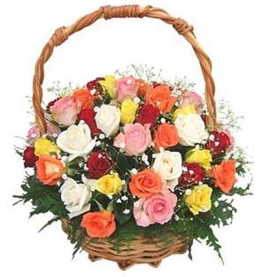 internetten çiçek siparişi  29 adet rengarenk gül sepeti tanzimi