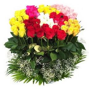 Polatlıya çiçek çiçek mağazası , çiçekçi adresleri  51 adet renkli güllerden aranjman tanzimi