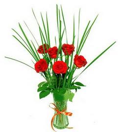 Polatlı Ankara çiçek , çiçekçi , çiçekçilik  6 adet kırmızı güllerden vazo çiçeği