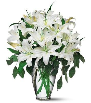 Polatlı internetten çiçek satışı  4 dal kazablanka ile görsel vazo tanzimi