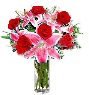 Ankara Polatlı çiçek yolla  1 dal cazablanca ve 6 kırmızı gül çiçeği