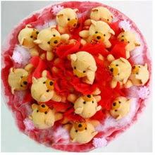 Polatlı uluslararası çiçek gönderme  15 li ayı buketi Teddy Bear Bouquet