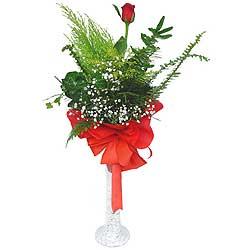 Polatlı anneler günü çiçek yolla  Cam vazoda masum tek gül