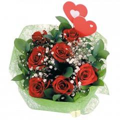 Polatlı internetten çiçek satışı  7 adet kırmızı gül ve 2 adet kalp çubuk