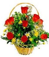 9 adet gül ve sepette kır çiçekleri  Polatlı internetten çiçek satışı