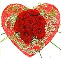 Mika kalp içerisinde 7 adet kırmızı gül  çiçekçi mağazası