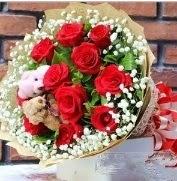 7 adet kırmızı gül 2 adet 10 cm ayı buketi  Polatlı çiçek siparişi vermek
