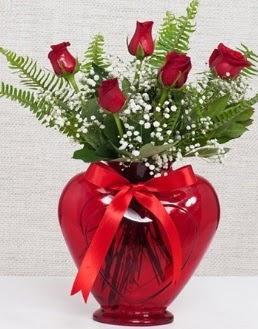 Kalp içerisinde 5 adet kırmızı gül  Polatlıya çiçek Ankara çiçekçi telefonları