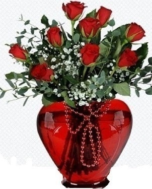Kalp cam mika içinde 9 adet kırmızı gül  Polatlı internetten çiçek satışı