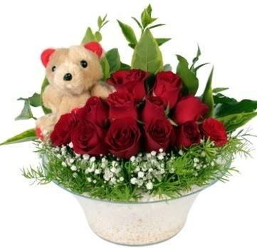 Cam tabakta 7 adet kırmızı gül ve küçük ayı  çiçekçi mağazası