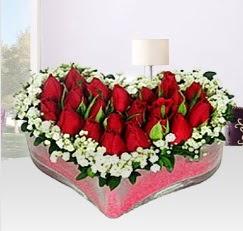 Kalp içerisinde 10 adet kırmızı gül  Polatlı anneler günü çiçek yolla