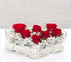 kalp içerisinde 7 adet kırmızı gül  Polatlı çiçek siparişi vermek