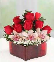 3 kandil orkide 5 kırmızı gül kalp mika  Polatlı internetten çiçek satışı