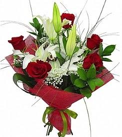 1 dal kazablanka 5 kırmızı gül buketi  Ankara Polatlı Ankara kaliteli taze ve ucuz çiçekler