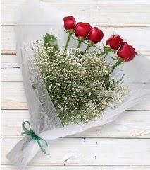 5 kırmızı gülden sade buket  Ankara Polatlı çiçek yolla