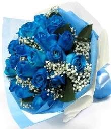 15 adet mavi gülden şahane eşsiz buket  Polatlı uluslararası çiçek gönderme
