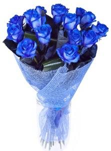 12 adet mavi gül buketi  Polatlıdaki çiçekçiler çiçek servisi , çiçekçi adresleri