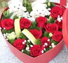 2 adet ayıcık 9 kırmızı gül kalp içerisinde  Polatlı internetten çiçek satışı