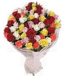 51 adet rengarenk gül buketi  Polatlıya çiçek çiçek mağazası , çiçekçi adresleri