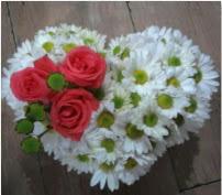 3 adet kırmızı gül mika kalptte papatyalar  Polatlı internetten çiçek satışı