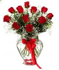 9 adet kırmızı gül cam kalpte  Ankara Polatlı online çiçekçi , çiçek siparişi