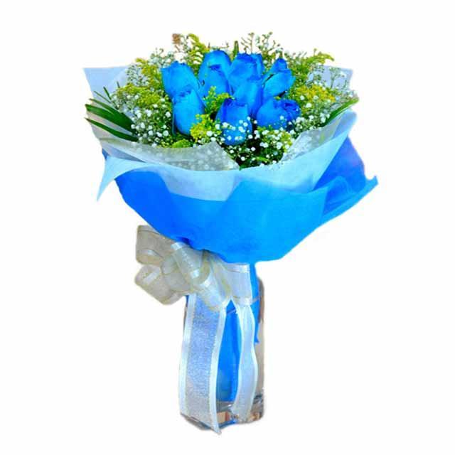 7 adet mavi gül buketi  Polatlı Ankara çiçek , çiçekçi , çiçekçilik