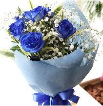 5 adet mavi gülden buket çiçeği  Polatlı çiçek satışı