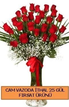 Cam vazoda ithal 1. kalite 25 gül  Polatlı internetten çiçek satışı