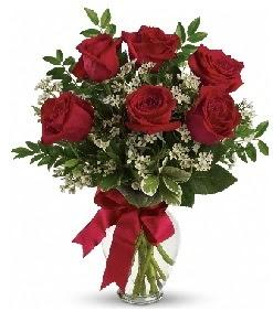 Cam vazo içerisinde 6 adet kırmızı gül  Polatlıda çiçek firması çiçek gönderme