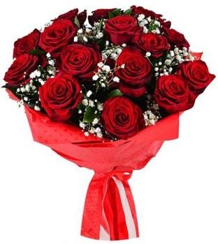 Kız isteme çiçeği buketi 17 adet kırmızı gül  Polatlıya çiçek Ankara çiçekçi telefonları