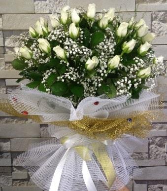41 adet beyaz gül kız isteme buketi  Polatlı çiçek satışı