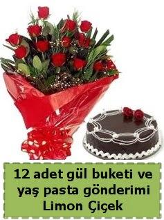 12 adet kırmızı gül buketi ve yaş pasta  Polatlı çiçek gönderme sitemiz güvenlidir