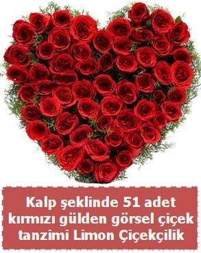 51 kırmızı gülden kalp şeklinde çiçek tanzim  Polatlı çiçek satışı