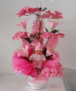 Pembe cam bebekli bebek doğum çiçeği  Polatlı çiçek satışı