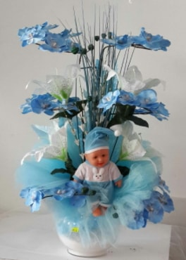 Mavi cam bebekli bebek doğum çiçeği  Polatlı çiçek satışı