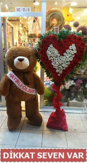 1.5 Metre peluş ayı ve Kalp  Polatlı çiçek gönderme sitemiz güvenlidir